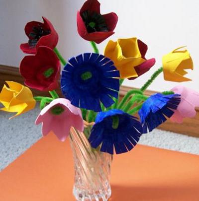 Букеты цветов из картона для яиц