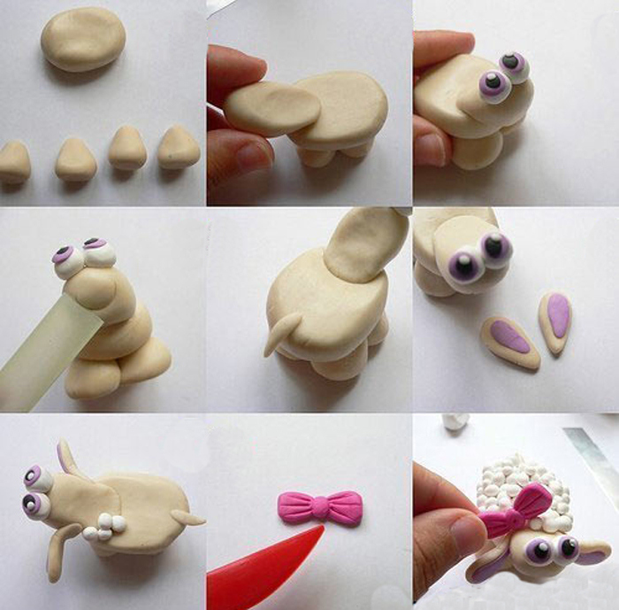 Как слепить овечку из полимерной глины
