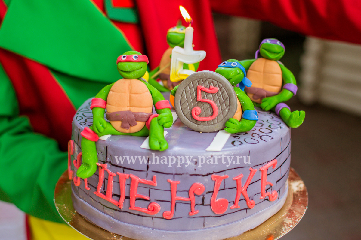 Торт ребенку на день рождения с черепашками ниндзя