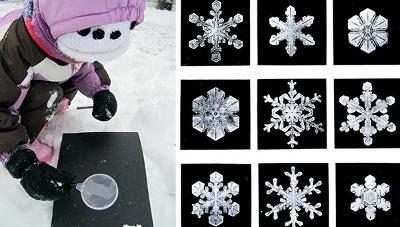 Рассматриваем снежинки через лупу