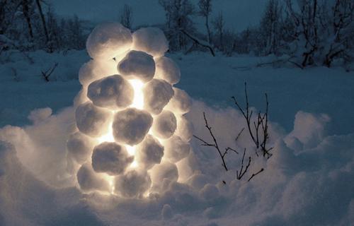 Фонарик из снега