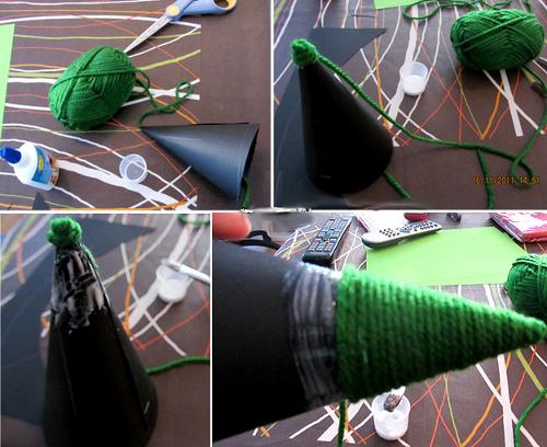 Как сделать елку из ниток?