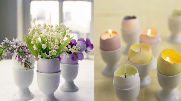 Подсвечники и вазочки из скорлупы