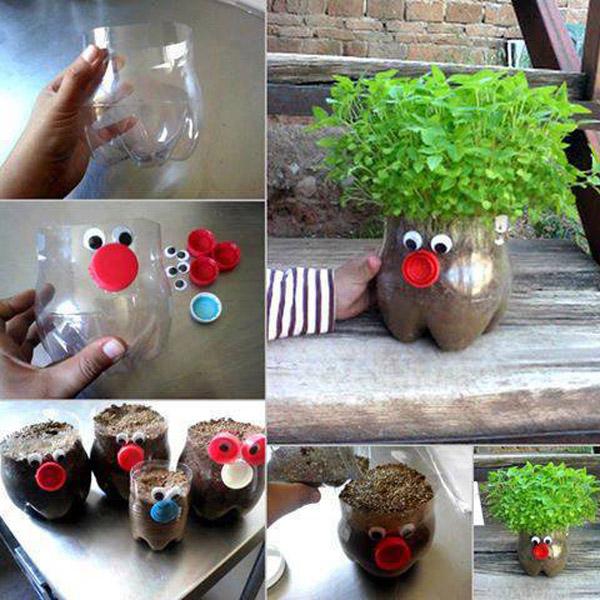 Горшки из пластиковых бутылок своими руками фото для сада