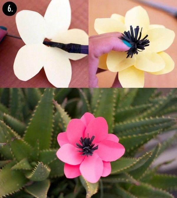 Весенние цветы из цветной бумаги