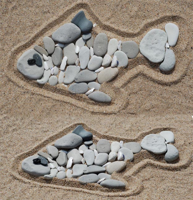 Фигуры из камней на пляже