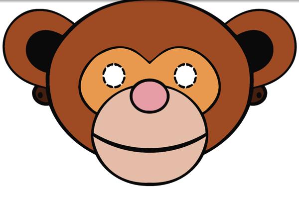 Шаблоны новогодних масок в виде обезьяны