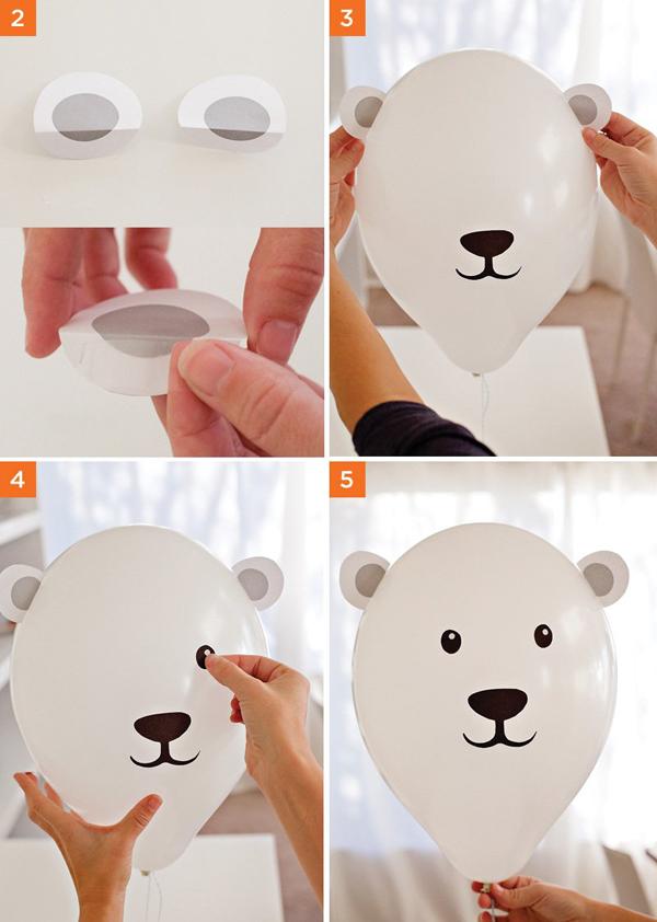 Белый мишка из шарика
