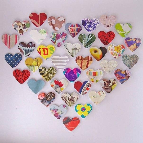 Сердечки из журнальных страниц