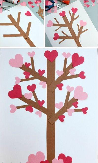 """Детская аппликация """"Дерево с сердечками"""""""