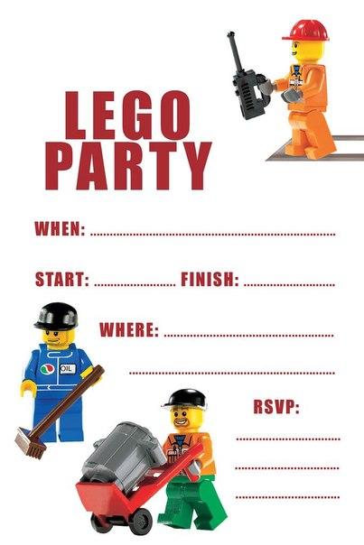 Шаблон приглашения на детский праздник Лего