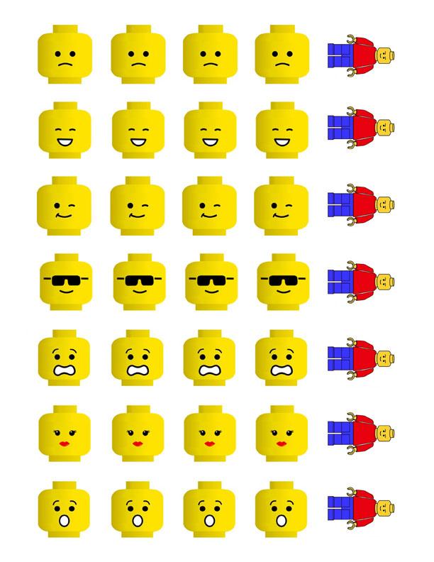 Мордочки человечков Лего шаблоны