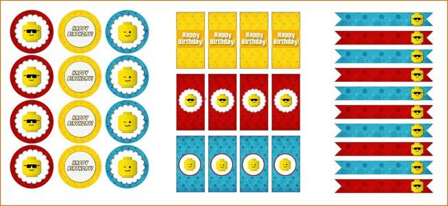 Топперы и наклейки на стаканчики Лего
