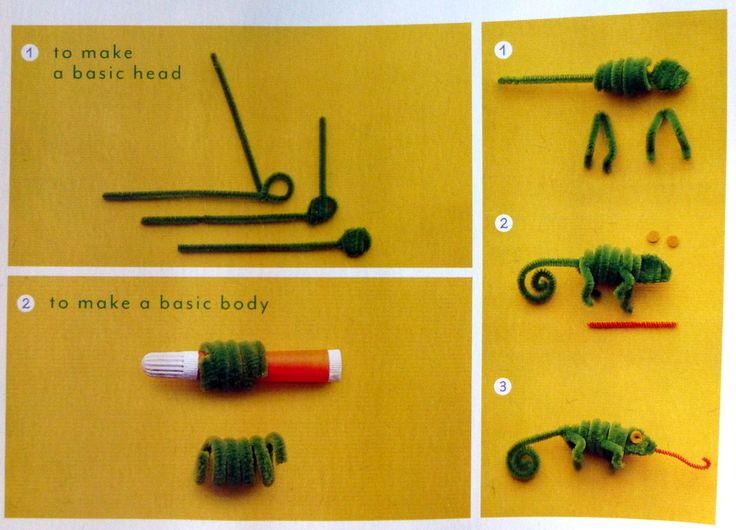 Как сделать хамеллиона из пушистой проволоки