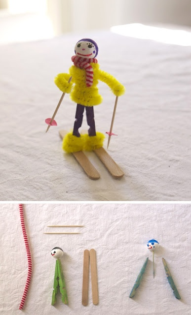 Лыжник из пушистой проволоки