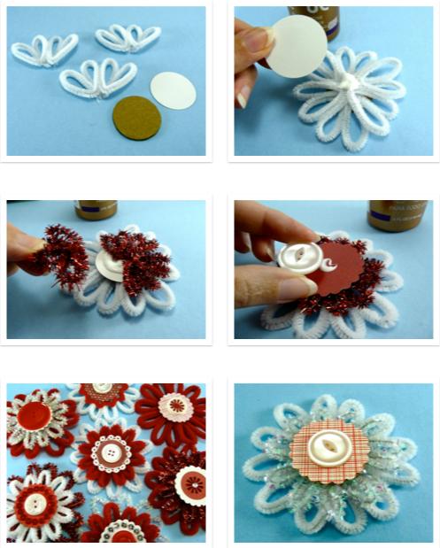 Цветы и снежинки из пушистой проволоки