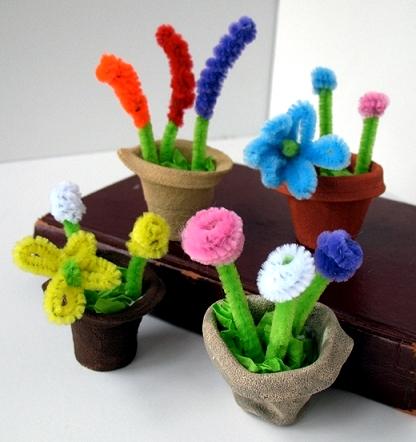 Весенние цветы в горшочках своими руками