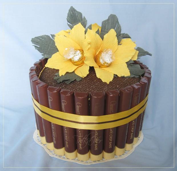 Торт из конфет для учителя