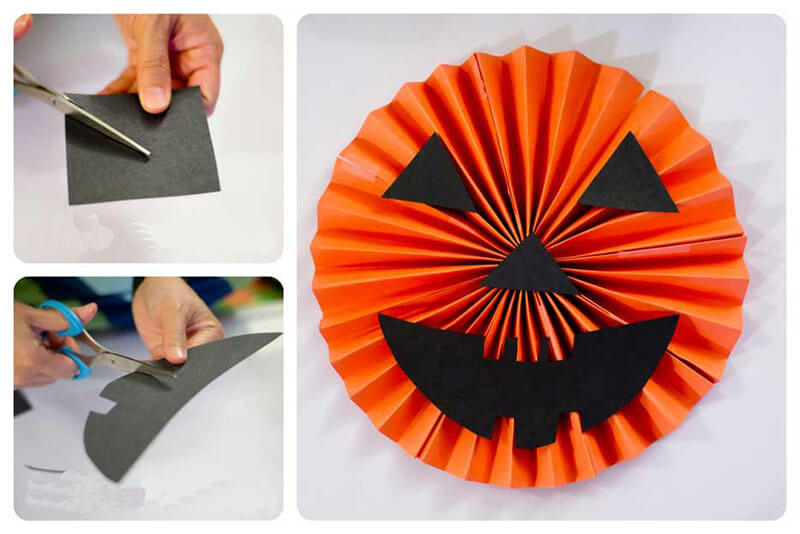 Мордочка для тыквы из бумаги
