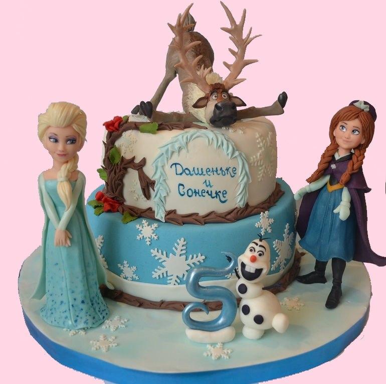 Детский торт с персонажами Холодного сердца