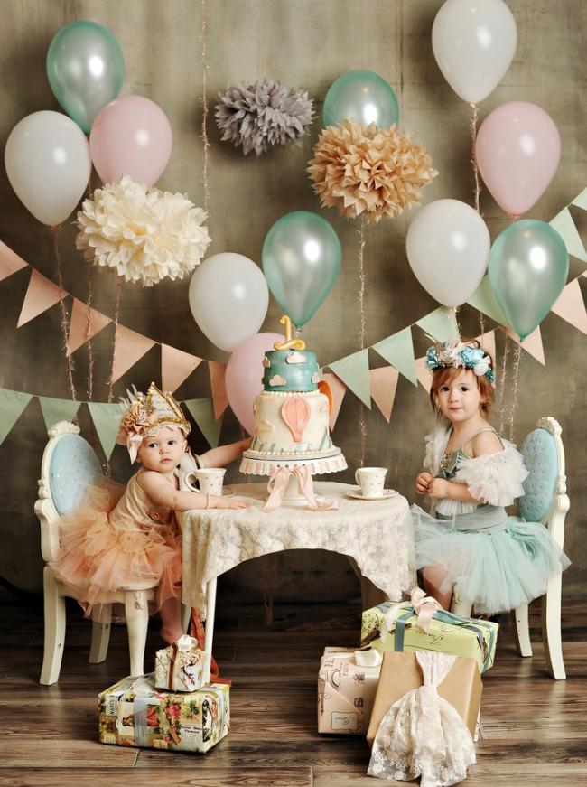 Украшение детского праздника в пастельных тонах