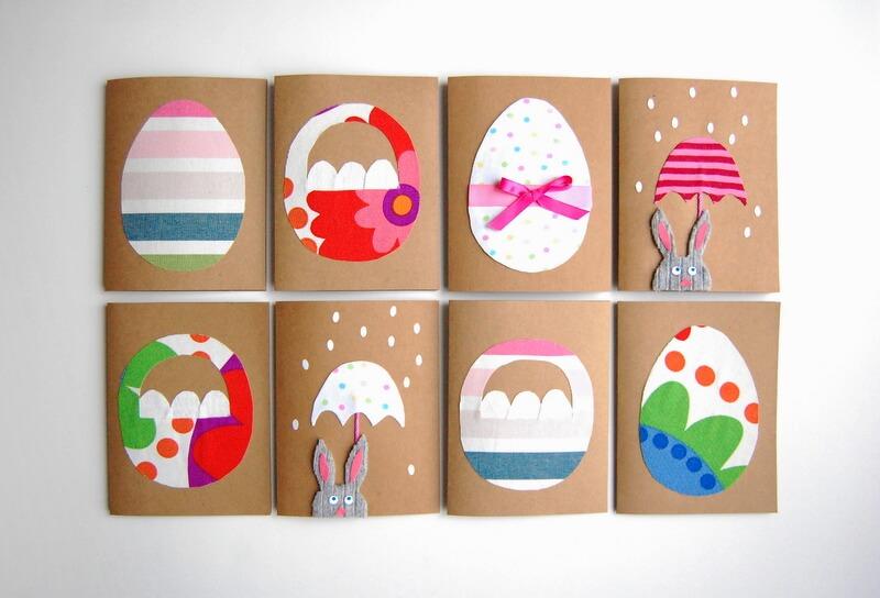 Пасхальные открытки с аппликацией из ткани