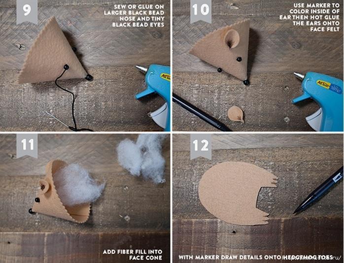 Как сделать мордочку ежика из фетра