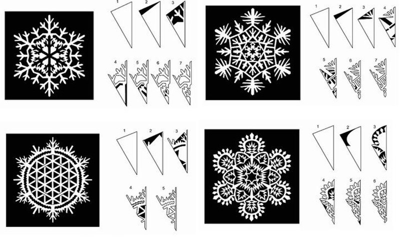 Схема вырезания снежинок