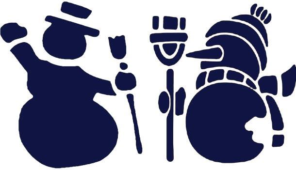 Новогодние трафареты снеговиков