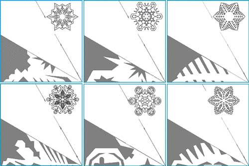 Схемы вырезания снежинок из бумаги