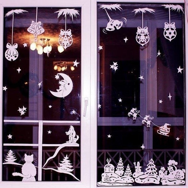 Новогодние аппликации на окне