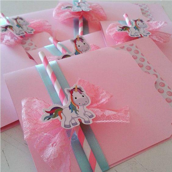 Приглашение на детский день рождения с единорогом