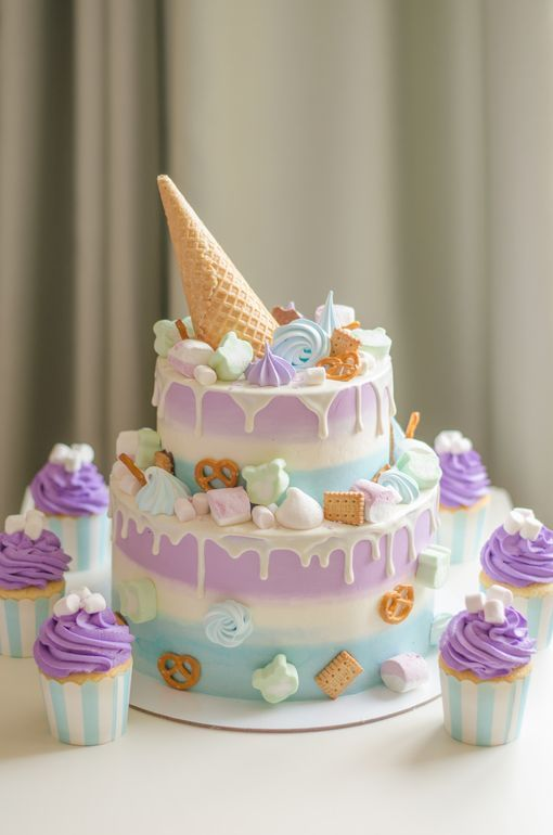 Торт для девочки в стиле единорога