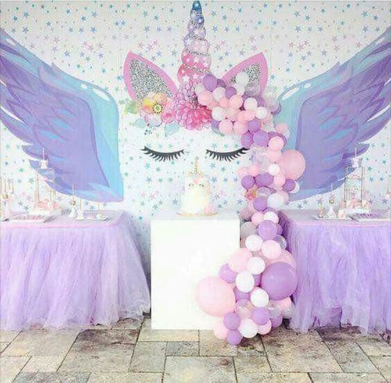 День рождения для девочки в стиле радужного единорог