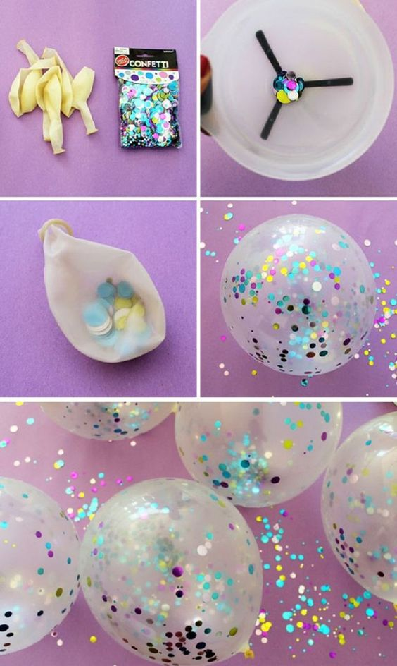 Прозрачные шарики с блестками