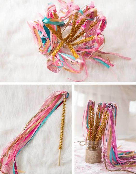 Декоративные палочки для праздника в стиле сказочного единорога
