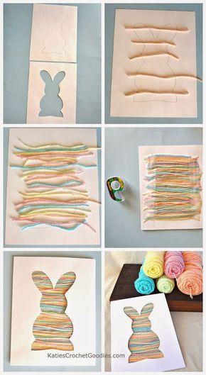 Пасхальная открытка с кроликом из ниток