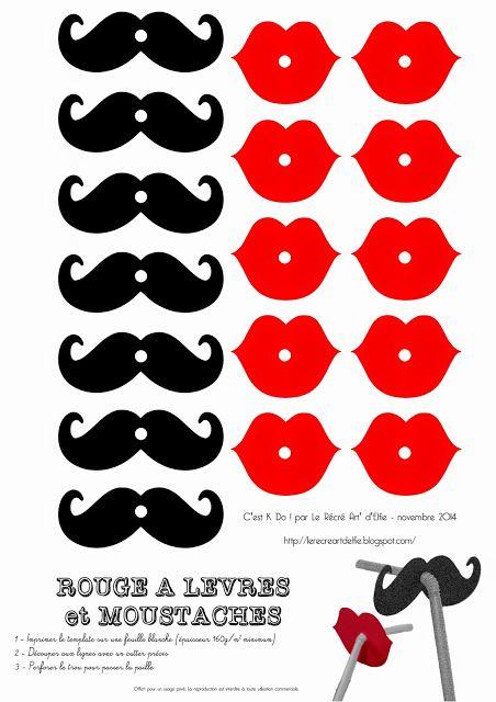 Шаблоны усов и губ для украшения трубочек для коктейлей
