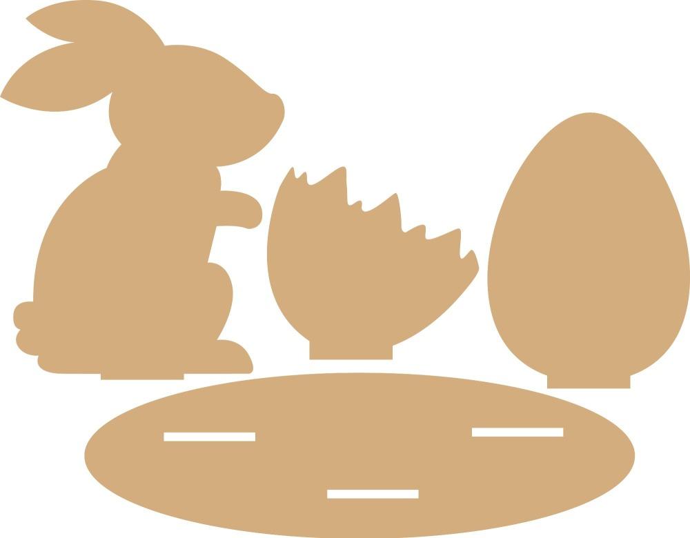 Кролик с пасхальным яйцом из картона