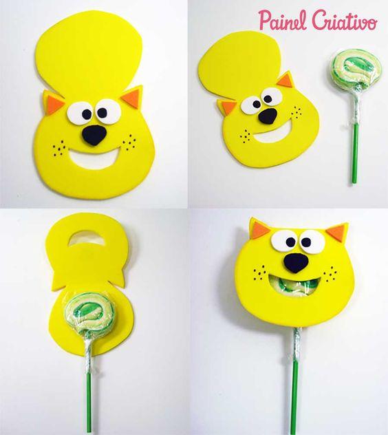Украшение конфеты на палочке в виде кота