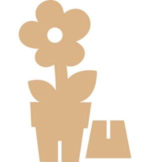Объемная фигура цветка в горшке из картона