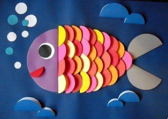 Рыбка из кружков цветной бумаги