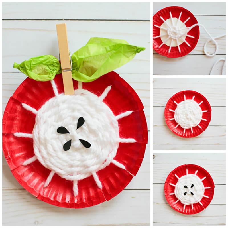 Яблоко из бумажной тарелки