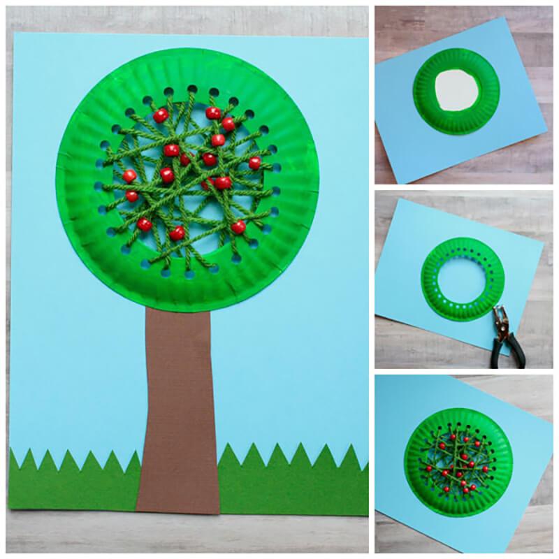 Дерево из одноразовой тарелки