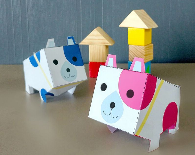 Объемные щенки из бумаги