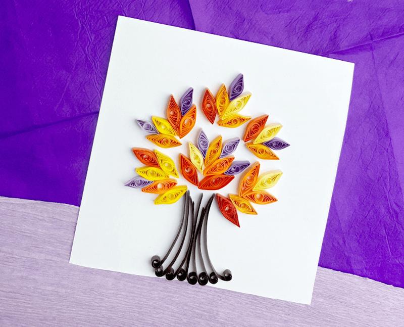 Осеннее дерево в технике квилинг