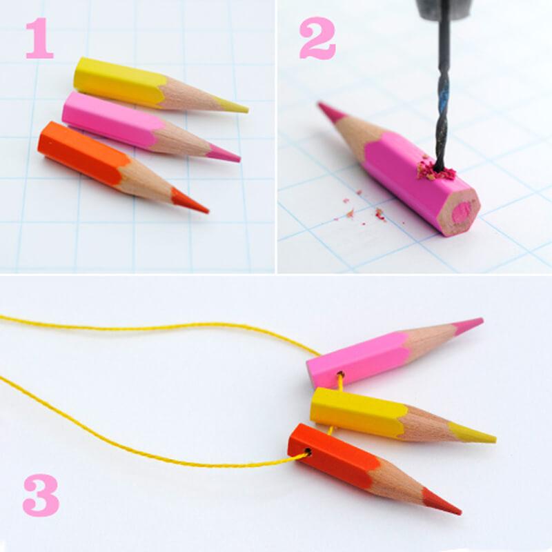 Ожерелье из кусочков цветных карандашей
