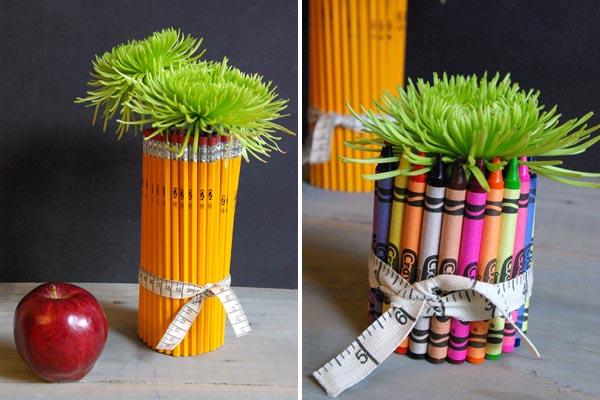 Цветочные горшки из цветных карандашей