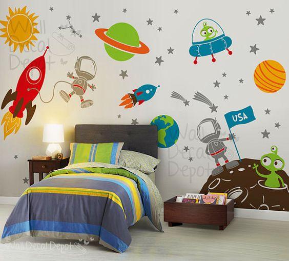 Наклейки на стену космические