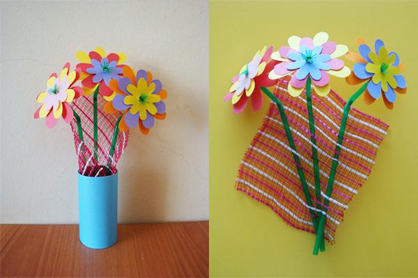 Бумажные цветы в вазочке к 8 марта